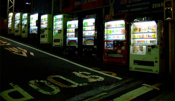 Japanese vending machines, at your service any time. Creative Commons photo by David Ooms.