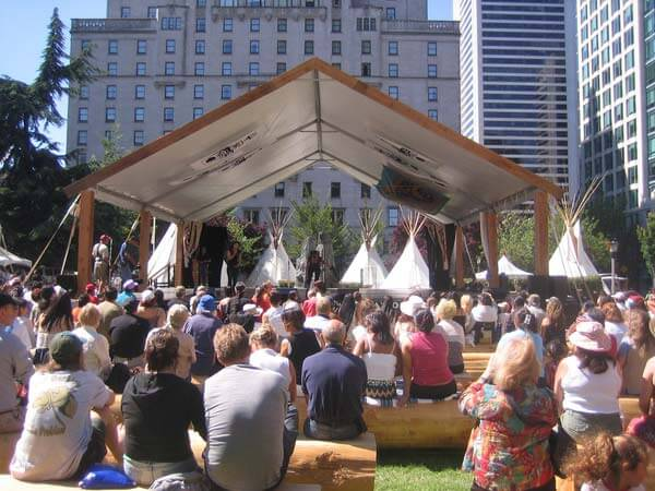 Vancouverites attending National Aboriginal Day events in 2006. Creative Commons photo by Flickr user Freedryk.