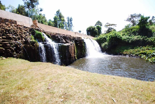The volunteer-built dam in Kinyaga, Kenya. Electricity-generating turbines will be installed soon. Photo by Siena Anstis.