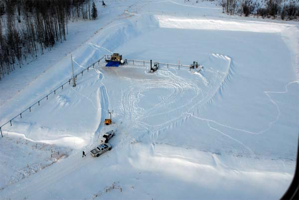 A natural gas well head near Dawson Creek, B.C., site of a deliberate blast that partially destroyed the well's metering shed on January 4, 2009. Photo source: RCMP.