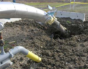 A natural gas site near Dawson Creek, B.C., damaged by a blast on December 3, 2008. Photo credit: RCMP.