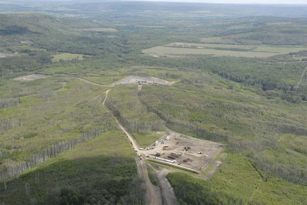 Site of two bombings of EnCana natural gas facilities near Dawson Creek, B.C., one on July 1, 2009, the second on July 4. Police are still seeking a suspect. Photo credit: RCMP.