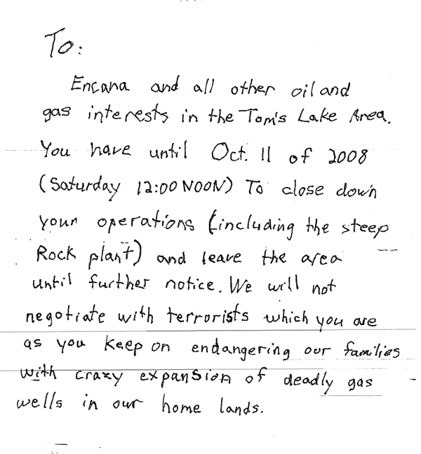 Letter from the bomber that preceded the first blast at an EnCana facility.