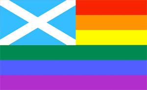 Scottish Flag and Rainbow Flag, together at last