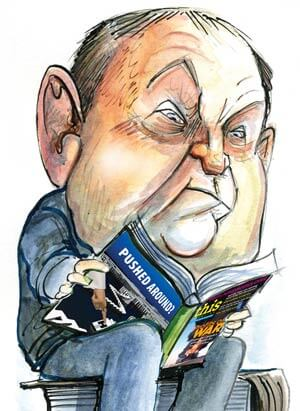 Nova Scotia NDP Premier Darrell Dexter has a lot of reading to do, including This Magazine. Illustration by David Anderson.