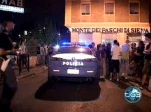 Police investigating yesterday's bombing of a Rome gay bar.