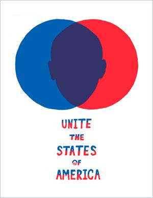 Obama 2008 poster: Unite the States of America
