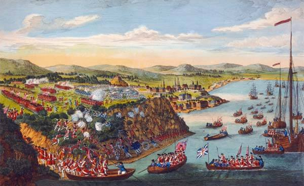 """A View of the Taking of Quebec, 13 September 1759"" an engraving by Laurie and Whittle. Image courtesy National Archives."