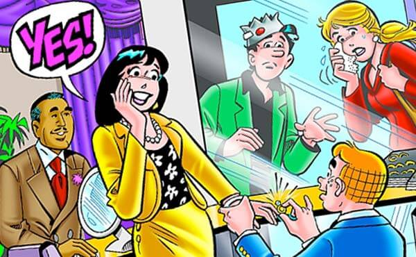 Archie proposes to Veronica on the cover of the September 2009 issue of Archie Comics.