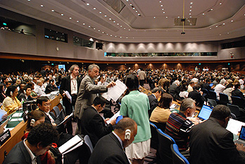 Delegates to the Bangkok climate negotiations in a plenary session. Photo courtesy UNFCCC.
