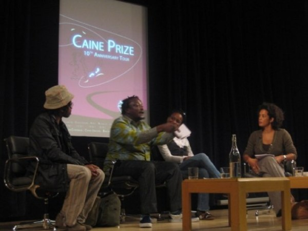 A panel at the British Library celebrating 10 years of the Caine Prize for African Writing. Left to right: Brian Chikwava, Binyavanga Wainaina, Chika Unigwe, moderator Aminatta Forna. Photo via the Caine Prize's Facebook page.