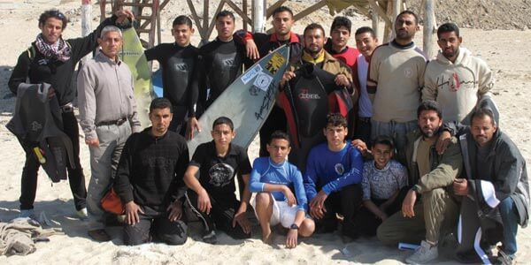 The members of the Gaza Surf Club