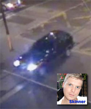 A CCTV image of an SUV suspected in the murder of Chris Skinner (inset).