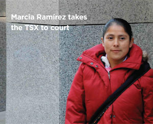Marcia Ramírez is suing the Toronto Stock Exchange over a violent incident with a Canadian mining company's security service. Photo by Malcolm Rogge.