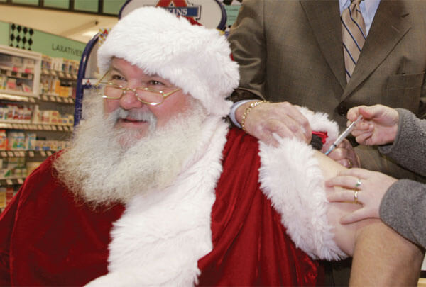 As an elderly person, Santa was fast-tracked for the flu shot.