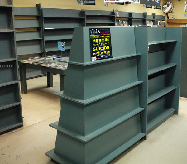 The almost-bare shelves of Toronto's Pages Bookstore in its final days. Daniel Tencer writes about the plight of independent booksellers in the November-December issue of This Magazine.