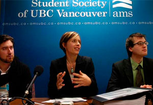 University of B.C. graduate Tristan Markle (left), Pivot Legal Society lawyer Katrina Pacey and UBC Alma Mater Society President Blake Frederick, Thursday, November 26, 2009. Image via Vancouver Sun.