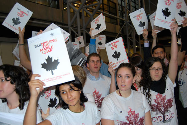 Members of the Canadian Youth Delegation to the Copenhagen Climate Summit protest Canada's lacklustre showing at the conference. CC-Licensed photo courtesy CYD.