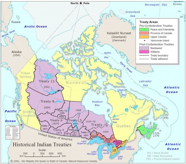 Historic treaty boundaries between Canada and Aboriginal peoples. Not representative of any proposed outline for an Aboriginal province; vast areas of Canada have never been formally surrendered or ceded by Aboriginal peoples. Courtesy Ministry of Natural Resources.