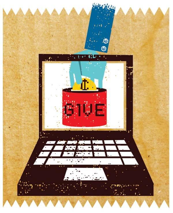 Does web-based charity really click? Illustration by Matt Daley.