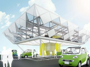 A charging station concept by Better Place, a private company attempting to develop a business model for electric cars.