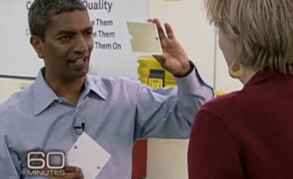 "K.R. Sridhar of Bloom Energy shows off a component of his ""Bloom Box"" to 60 Minutes' Leslie Stahl."