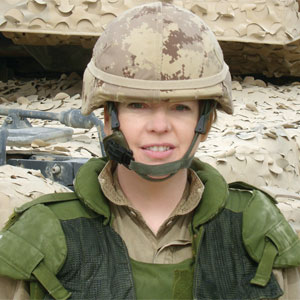 Sharon McKay in Afghanistan with the Canadian Forces Artist Program. Photo courtesy Sharon McKay.