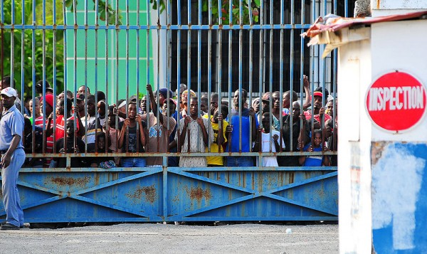 Haitians awaiting relif supplies in Port au Prince, January 15, 2010.