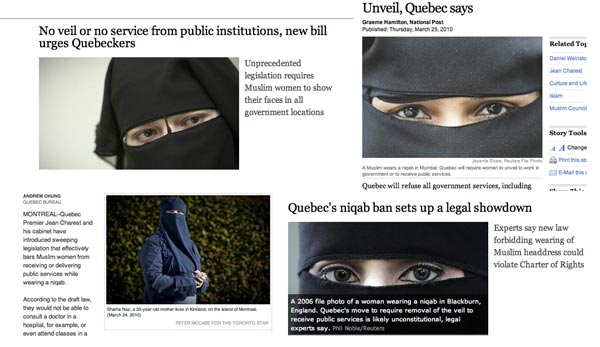 "Newspaper photo editors show their creativity when selecting images for this story. Bottom left is from the Star, that actually dispatched a photographer instead of using the file-photo cliché of ""eyes peeking through veil"""