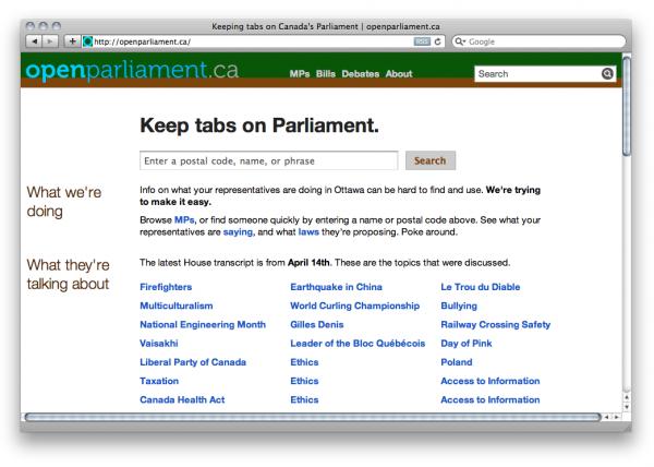 Website of OpenParliament.ca