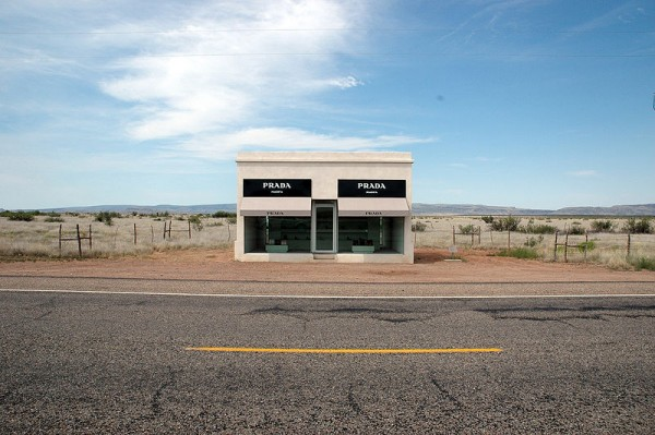 Prada Marfa, one of Marfa, Texas' notable artworks. Marfa became a modern art destination when Donald Judd opened a museum there in the 1970s.