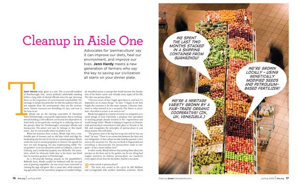 "Magazine spread of Jenn Hardy's July-August 2009 cover story, ""Cleanup in Aisle One"""