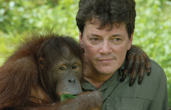 Dutch scientist Willie Smits with one of the Samboja orangutans. Photo by Cees Bosveld.