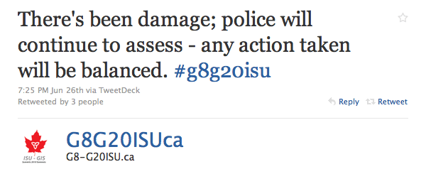 """G8G20ISUca: """"There's been damage; police will continue to assess - any action taken will be balanced. #g8g20isu"""""""