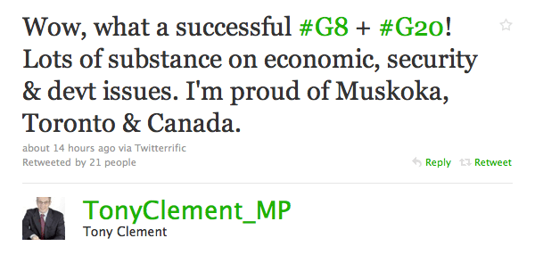 """Tony Clement: """"Wow, what a successful #G8 + #G20! Lots of substance on economic, security & devt issues. I'm proud of Muskoka, Toronto & Canada."""""""