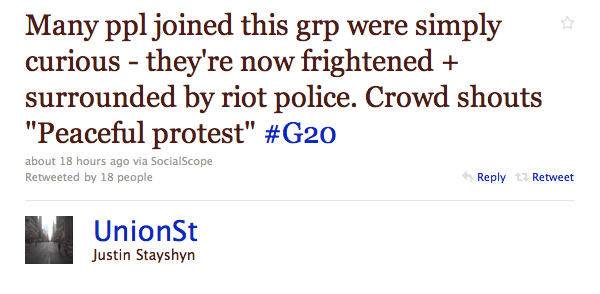 """Many ppl joined this grp were simply curious - they're now frightened + surrounded by riot police. Crowd shouts """"Peaceful protest"""" #G20"""""""