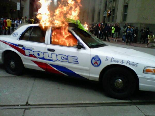 Toronto Police Cruiser on fire