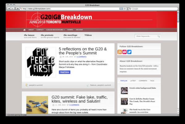 Screenshot of G20 Breakdown