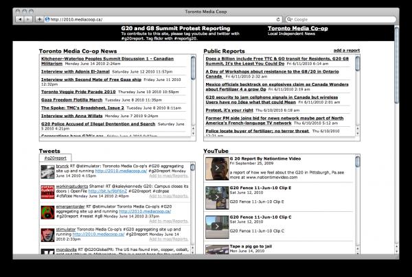 Screenshot of the Toronto Media Co-op G20 site.
