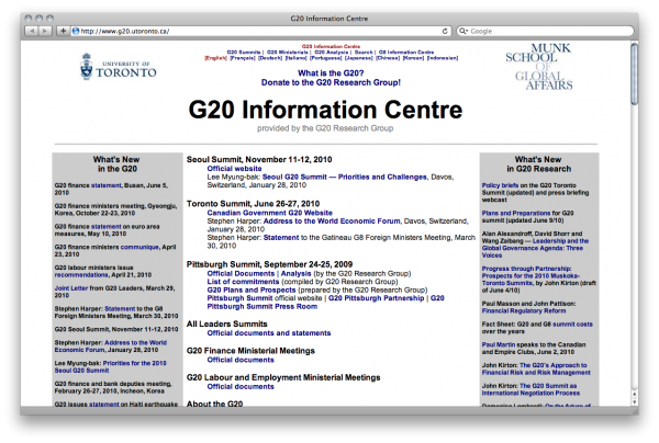 Screenshot of the G20 Information Centre's website