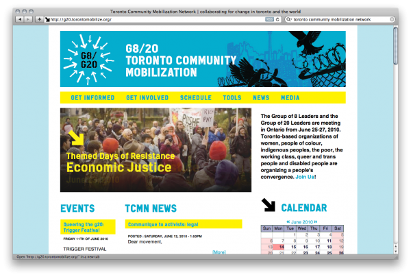 Screenshot of Toronto Community Mobilization's website