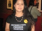 "Jessica Yee, T-shirt reads ""Reproductive Freedom Fighter"""