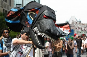 Angry black dragon puppet