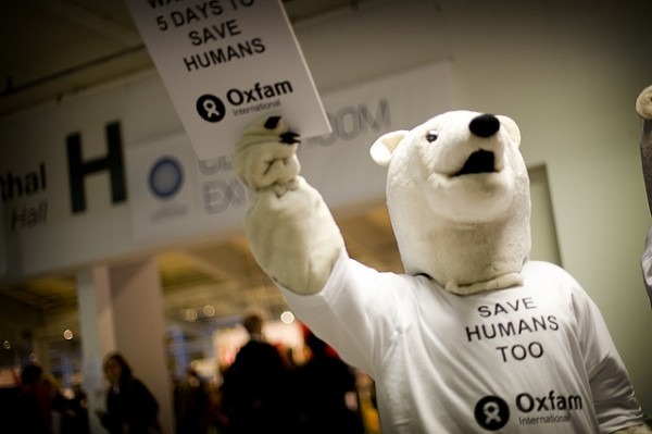 OXFAM Polar Bears demonstrate at the 2009 Climate Change Conference in Copenhagen. Photo courtesy of Oxfam International, Flickcreativecommons.