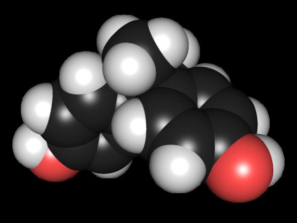Computer model of a Bisphenol-A molecule.
