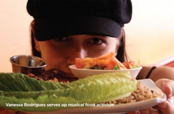 Vanessa Rodrigues serves up musical food activism. Photo by Tom Inoue.