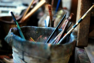 Paint brushes in Bassam and Zahra's Damascus studio.