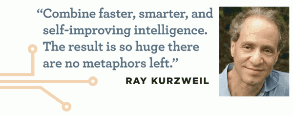 """Combine faster, smarter, and self-improving intelligence. The result is so huge there are no metaphors left."" -- Ray Kurzweil"