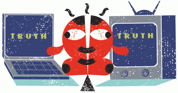 Truth and lies flourish equally online. Exhausted readers are in retreat. Illustration by Matt Daley.