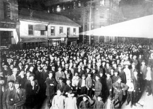 That's a turnout: Election Night, June 8, 1908, on Bay Street, Toronto.